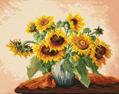 Sunflowers - Coricamo - Welcome to Cross Stitching, free cross stitch pattern, needlepoint, beading, soutache, mouline, tapestry, embroidery, chart