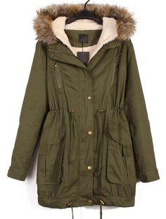 Manteau à capuche en fourrure avec fermeture éclair-Vert EUR€50.89