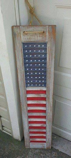 With some paint and an old shutter, you can make this #patriotic shutter #flag…