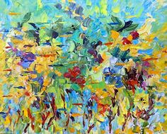 """Daily Painters Abstract Gallery: Palette Knife Abstract Colorful Painting """"Sea The Way"""" by Colorado Impressionist Judith Babcock"""