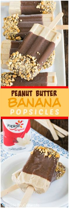 Peanut Butter Banana Popsicles - these easy treats are loaded with yogurt, peanut butter, and banana. Delicious after school snack or dessert recipe!