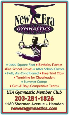 NEW ERA GYMNASTICS SUMMER PROGRAMS: Full day and morning only available. Gymnastics, arts n crafts, indoor and outdoor games, indoor swimming at YMCA. CT certified summer camp