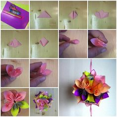 64 best paper flowers crafts 2 images on pinterest bricolage diy origami paper flower ball mightylinksfo