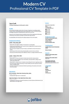 A good looking modern CV template, where you effortlessly stand out with an eye-catching yet simple design Resume Pdf, Job Resume, Resume Tips, Resume Examples, Best Cv Template, Modern Resume Template, Resume Template Free, Writing Words, Writing Tips