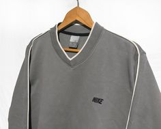Vintage 90s Nike SPELL OUT Logo Sweatshirt Gray/White  SIze S