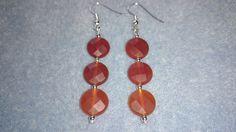 Faceted carnelian coin earrings www.facebook.com/KimsGlitteringGems