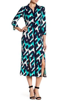 573af05ada58a4 Printed Shirtdress by Laundry By Shelli Segal on @HauteLook Midi Shirt Dress,  Laundry By
