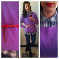 slouchy boyfriend sweater and plaid shirt