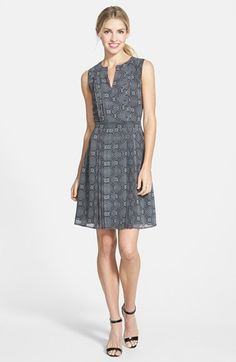 Halogen®+Pleated+Fit+&+Flare+Dress+(Regular+&+Petite)+available+at+#Nordstrom