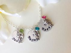 Personalized mom necklace Grandmother jewelry Kids by Stamptations