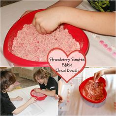 Strawberry Scented Edible Cloud Dough