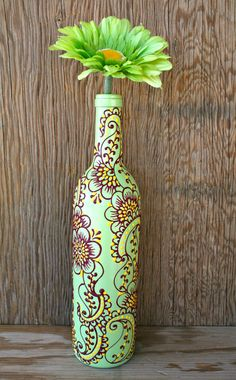 Wine bottle Vase Henna Influenced Design Mint Green by LucentJane, $25.00