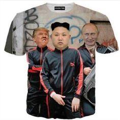New Funny 3D T-shirt Putin Donald Trump and Kim Jong Un Full Print Size S - 5XL