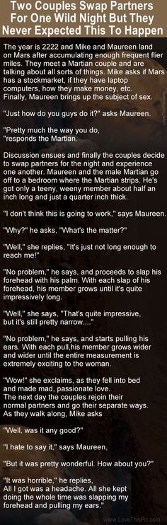 Two Couples Swap Partners For One Wild Night But Weren't Expecting This... funny jokes story lol funny quote funny quotes funny sayings joke hilarious humor stories marriage humor funny jokes
