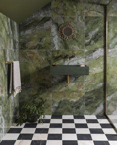 Paradise Green Gloss Porcelain Tile | Mandarin Stone Green Bathroom Accessories, Mandarin Stone, Checkerboard Floor, Washroom Design, Green Bathrooms Designs, Outdoor Tiles, Marble Effect, Green Marble, Stone Tiles