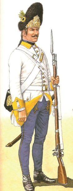 Ungarischer Grenadier des Regiments Josef Esterházy Nr. 37, 1762 – 1767
