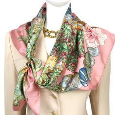 Hermes Silk Scarf Jardin Secret Salmon Pink