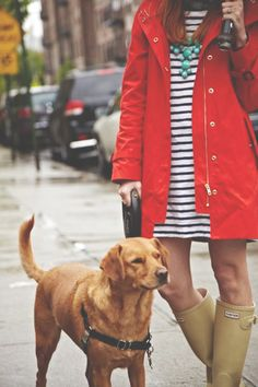 cute rainy day style - rain boots, striped dress, bold necklace and bright overcoat (+ adorable dog)