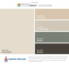 I found these colors with ColorSnap® Visualizer for iPhone by Sherwin-Williams: Divine White (SW 6105), Kilim Beige (SW 6106), Accessible Beige (SW 7036), Retreat (SW 6207), Sealskin (SW 7675).