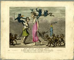 Social satire; three old maids lead strings of apes in hell, with devils flying…