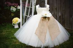 Burlap Tutu Dress- Vintage Wedding- Tulle color and flowers can be customized. $70.00, via Etsy.