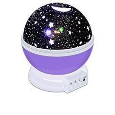Baby Night Light Moon Star Projector 360 Degree Rotation 4 LED Bulbs 9 Light Colors Changing Lighting Lamp Projection Romantic Rotating Cosmos with 59 Inches USB Charging Cable for Kids Bedroom ** Read more reviews of the product by visiting the link on the image.