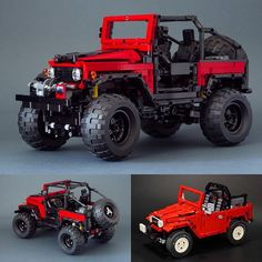 Toyota FJ40 | Built by Nikolay Gamurar via Flickr ------------------------ This is a heavily modified version of rm8's(see bottom right photo) fj40. Then the instructions to build this was made by Madoca. Nikolai did some minor changes on the exterior. This is complete with power functions so you take this outside and go off roading. 1250 total parts used and photo instructions are available(just google fj40 by madoca). ------------------------ #lego #legotechnic #toyota #toyotafj… Lego Technic Truck, Lego Technic Sets, Legos, Lego Gears, Toyota Fj40, Amazing Lego Creations, Lego Builder, Lego Construction, Lego Group