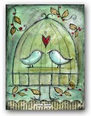 mixed media... little birds. I just love this from www.lisakaus.com