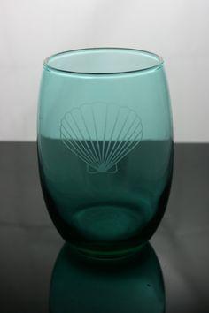 Seashell etched glass seashell glass nautical by Blockislandarts