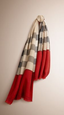 Burberry Parade Red Contrast Border Horseferry Check Cashmere Scarf - A made-in-Italy lightweight cashmere scarf the iconic Horseferry check and a contrasting border. Discover the scarves collection at Burberry.com