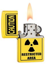 Caution! Restricted Area! Yellow Zippo lighter.