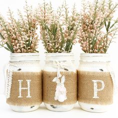 HOP Mason Jar Set, Spring, Mason Jars, Easter Bunny, Country, Farmhouse, Shabby Chic, Mantle, Centerpiece, Home, Vintage, Decor, Easter