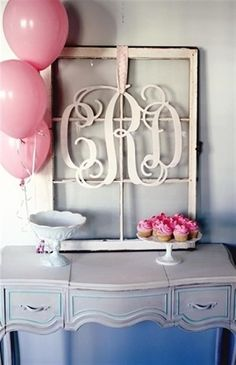 Bing : old window crafts. Scrolled initials of the new couple placed in a vintage frame as a wedding decoration piece that can also be kept as decor for their new home!