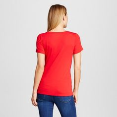 Women's Fitted Scoop T-Shirt Red Pop X - Merona, Size: Small