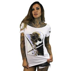 100% Cotton custom cut scoop neck laser cut sleeve tunic tee. Oversized printed artwork on front from artist Fernando De Pavia.   Pre-Order Now - ready for delivery by //16/16