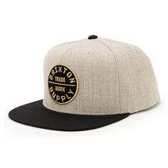 """The Brixton Oath III heather grey and black snapback hat promises to keep you fresh as long as it is on your dome. Treat yourself to the stylish heather grey body, black bill and top button, """"Brixton Supply Trademark"""" logo patch at the front, and a black"""