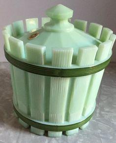 Westmoreland Jadeite Milk Glass Barrel and Lid Vintage Green Candy Dish Jadeitte