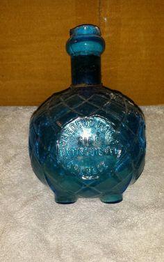 1871 Dark Cornflower Blue Harden's Hand Fire Extinguisher Grenade with label