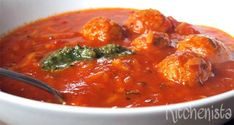 Tomato Soup w/ Meatballs Carb Free Recipes, Paleo Recipes, Soup Recipes, Mini Hamburgers, Tomato Soup, Food For Thought, Curry, Food And Drink, Yummy Food