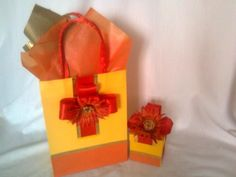 Handcrafted Pretty Burnt Orange/Yellow Flower Gift Bag & Box