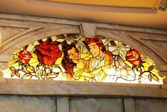 beauty and the beast stain glass window