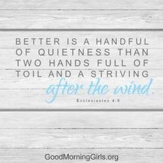 Better is a handful of quietness than two hands full of toil and striving after the wind. Ecclesiastes 4:6