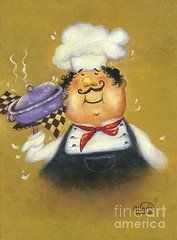 Chefs Art - Purple Pot Chef on Gold by Vickie Wade