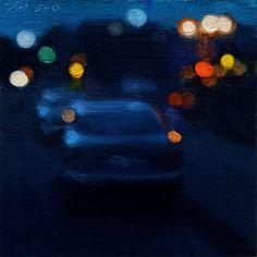 "Steve Magsig, ""Citylights #57,""  Oil on linen/panel, 2010, 5""x5"""