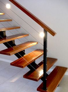 Wood/Metal & Cable with Stairs on a Single Track Spiral Stairs Design, Staircase Design Modern, Modern Stair Railing, Stair Railing Design, Home Stairs Design, Contemporary Stairs, Metal Stairs, Modern Stairs, House Design