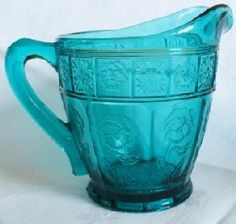 "Aquamarine Blue ""Doric and Pansy"" Creamer Depression Glass Manufactured by Jeannette Glass Company Cut Glass, Clear Glass, Glass Art, Antique Glassware, Water Pitchers, Grandma's House, Basins, Fenton Glass, Glass Company"