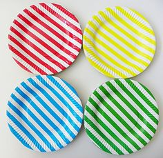 ReaLegend 60 Count 7Inch Colored Stripe Round Theme Party Cake Dessert Papper Plates  Multicolor Stripe ** More info could be found at the image url.