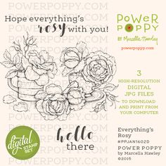 Everything's Rosy Digital Stamp Set | Power Poppy by Marcella Hawley