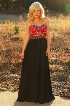 Lovely Day Maxi Dress: Black/Multi #shophopes