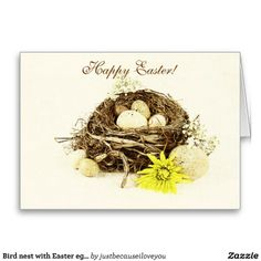 Bird nest with Easter eggs Card